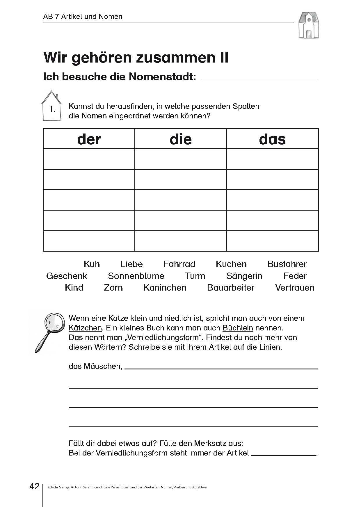 Arbeitsblatt Nomen Begleiter : Eine reise in das land der wortarten nomen download